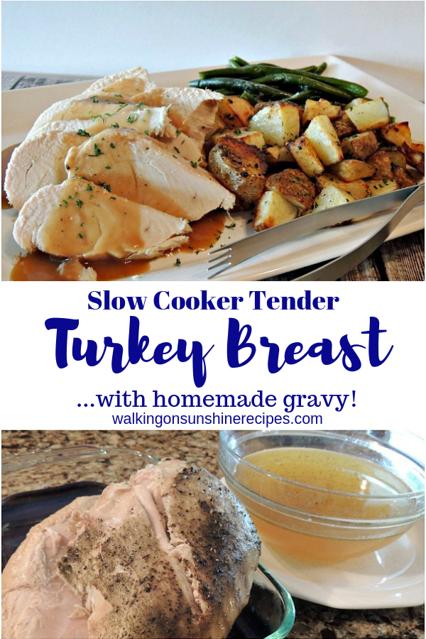 Turkey cooked in the crock pot with the broth