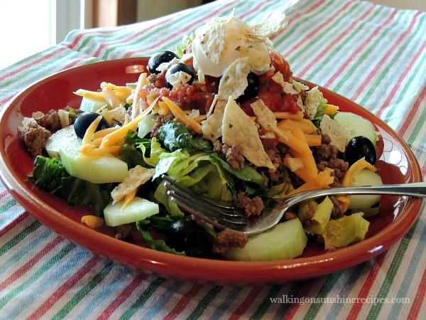 Taco Salad made with Homemade Taco Seasoning