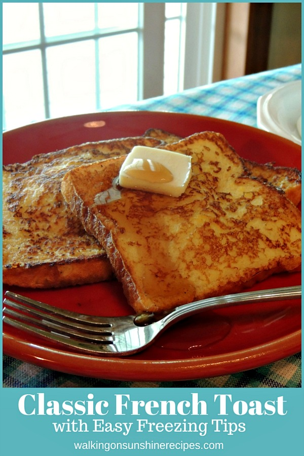 Classic French Toast with Easy Freezing Tips on red plate
