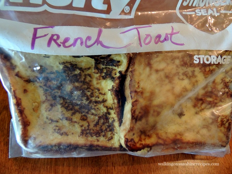 Freezer French Toast in plastic bag labeled and ready for Freezer