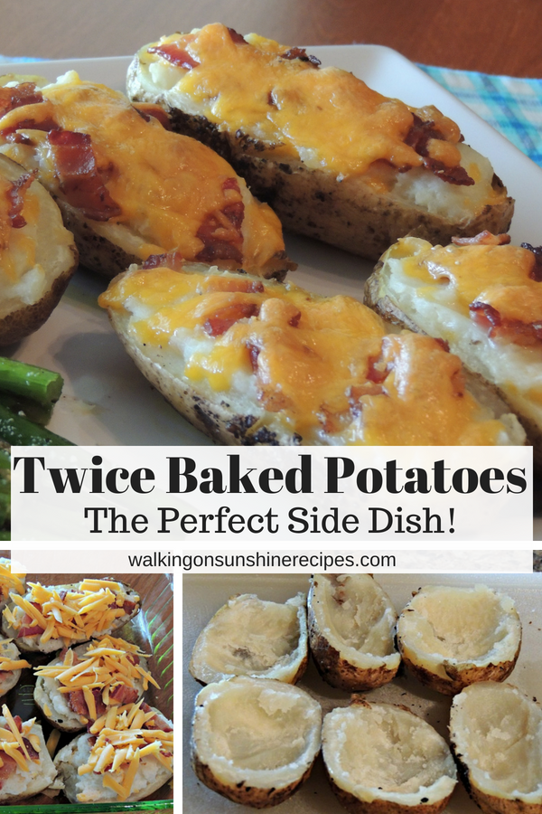 Twice baked potatoes with cheese, bacon in baking tray and on platter.