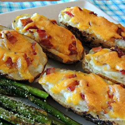 Twice Baked Potatoes with Bacon and Cheese FEATURED photo from Walking on Sunshine Recipes