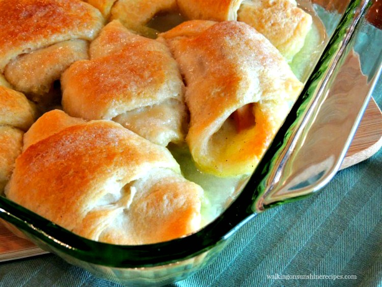 Closeup of Peach Dumplings made with Crescent Rolls