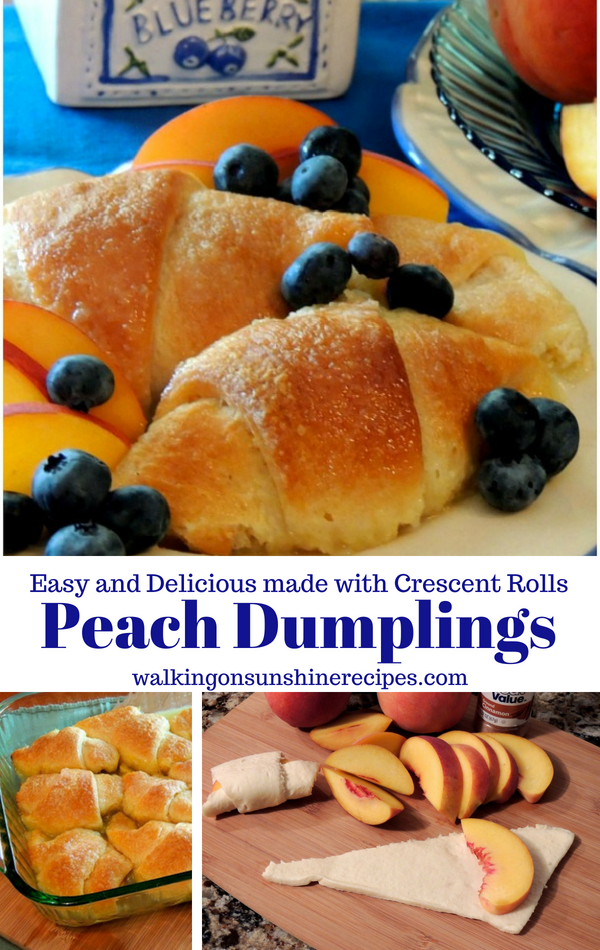 Peach Dumplings, sliced peaches in crescent roll dough