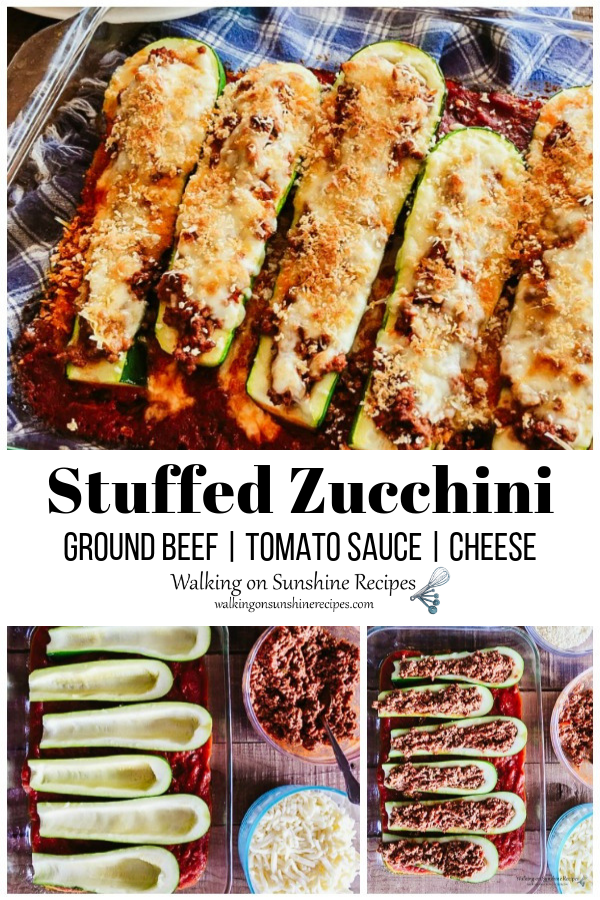 Baked stuffed zucchini with beef mozzarella cheese and tomato sauce.