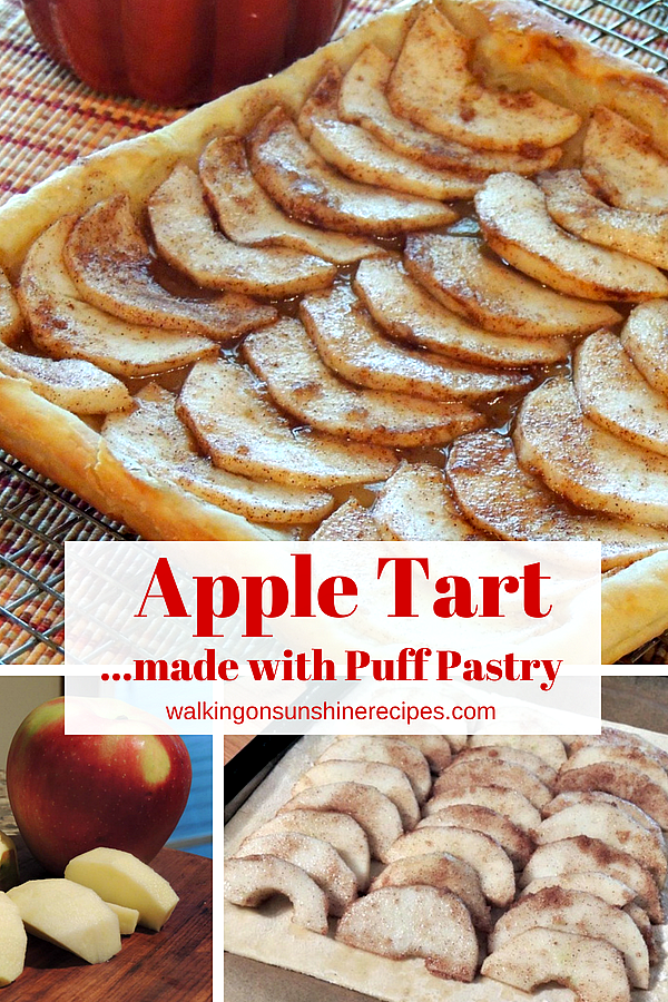 Apple Tart made with Puff Pastry and drizzled caramel sauce from Walking on Sunshine Recipes