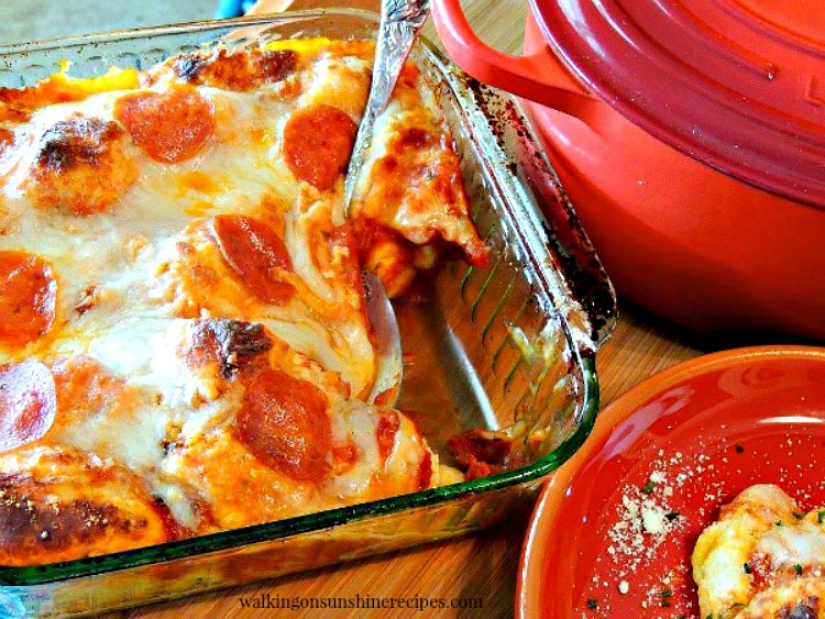 Bubble Up Pizza Casserole plated for dinner from Walking on Sunshine Recipes