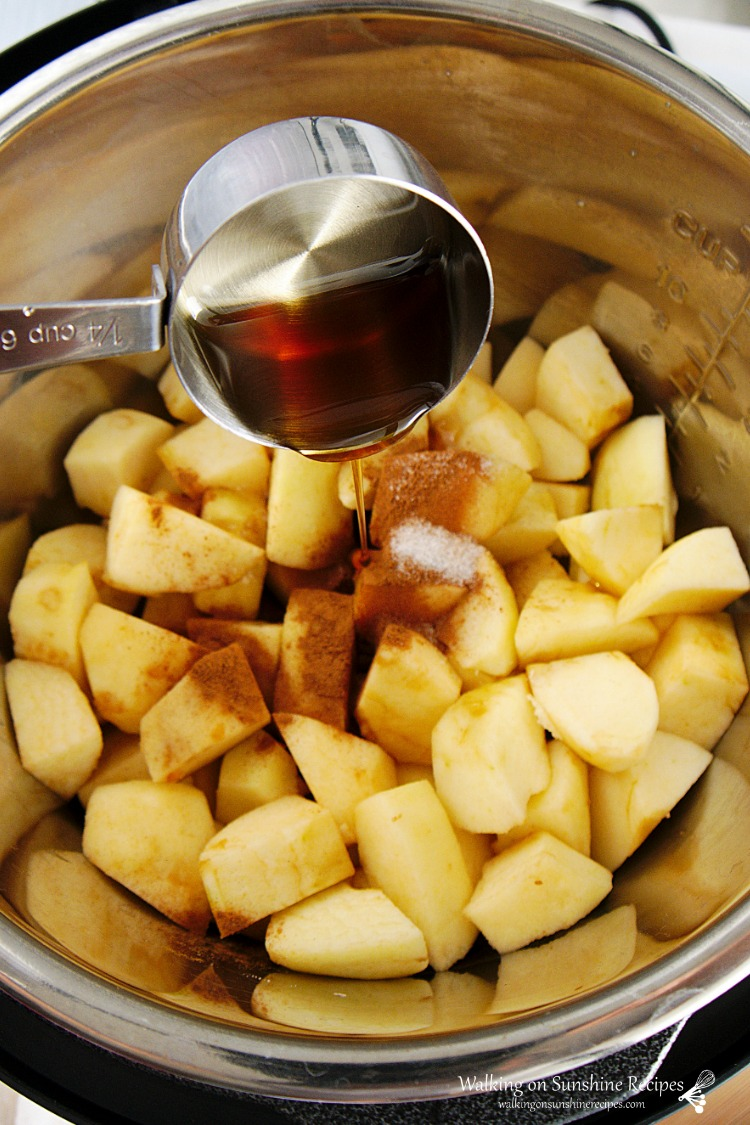 Add Maple Syrup to Apples in Instant Pot