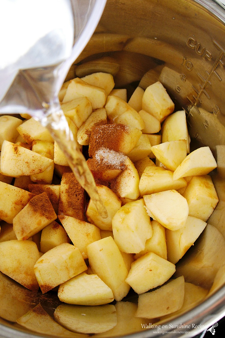 Add water to apples in Instant Pot