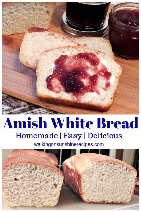 Homemade Amish White Bread Recipe on cutting board.