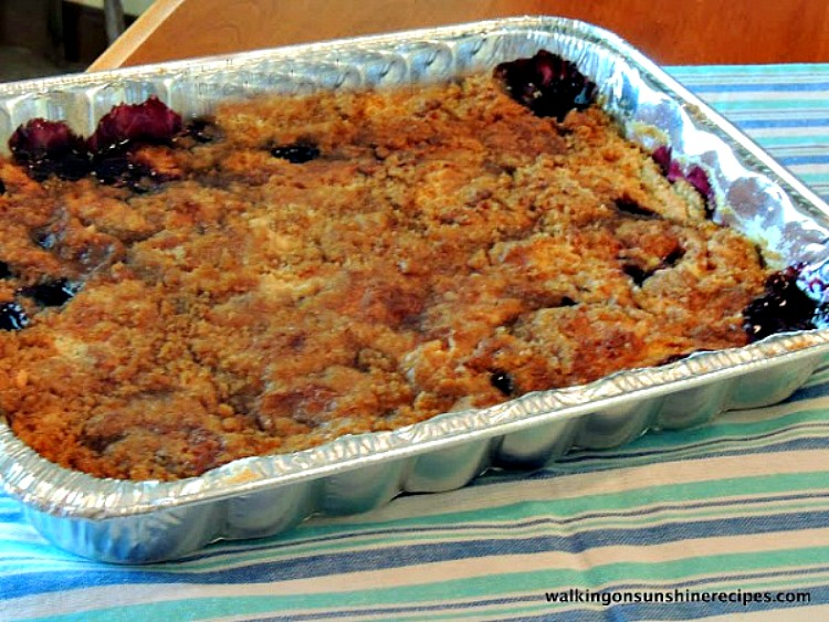 Blueberry Crunch Cake Baked from Walking on Sunshine Recipes