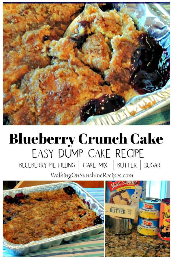 Blueberry Crunch or Dump Cake with ingredients.