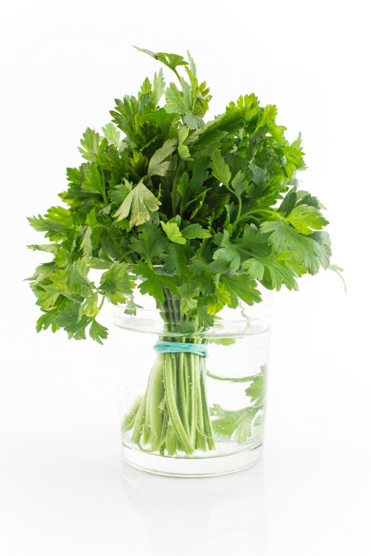 Fresh Parsley in jar of water with rubber band around the bottom.