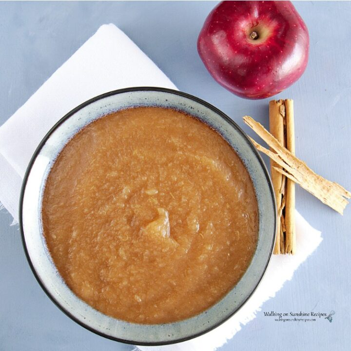 Homemade Applesauce in bowl with apple