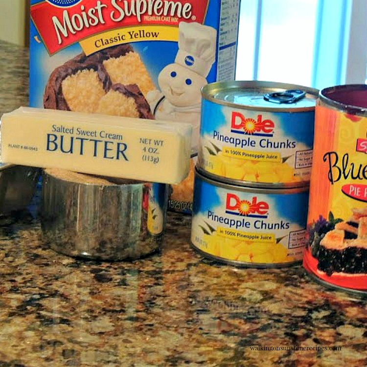 Blueberry Crunch Cake or Blueberry Dump Cake ingredients.