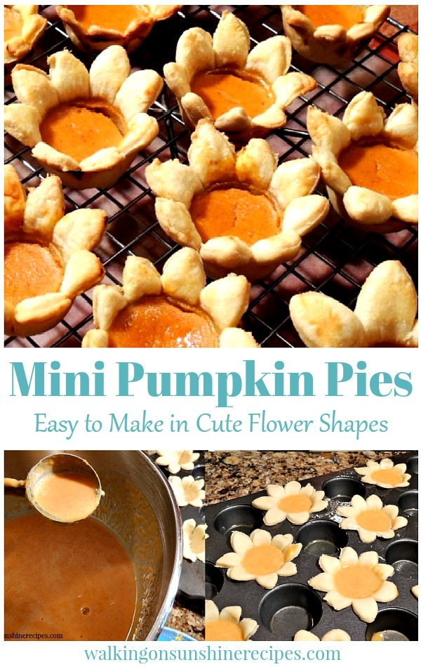 Mini Pumpkin Pie Flowers Easy to Make in Cute Flower Shapes from Walking on Sunshine Recipes