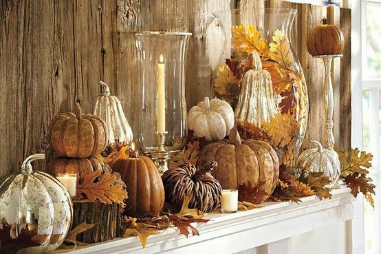 I love the use of the monotone colors of the pumpkins and gourds on this mantle not to mention the driftwood wall behind the mantle. & Decorating: Fall Decorating Ideas for Your Mantel| Walking On ...