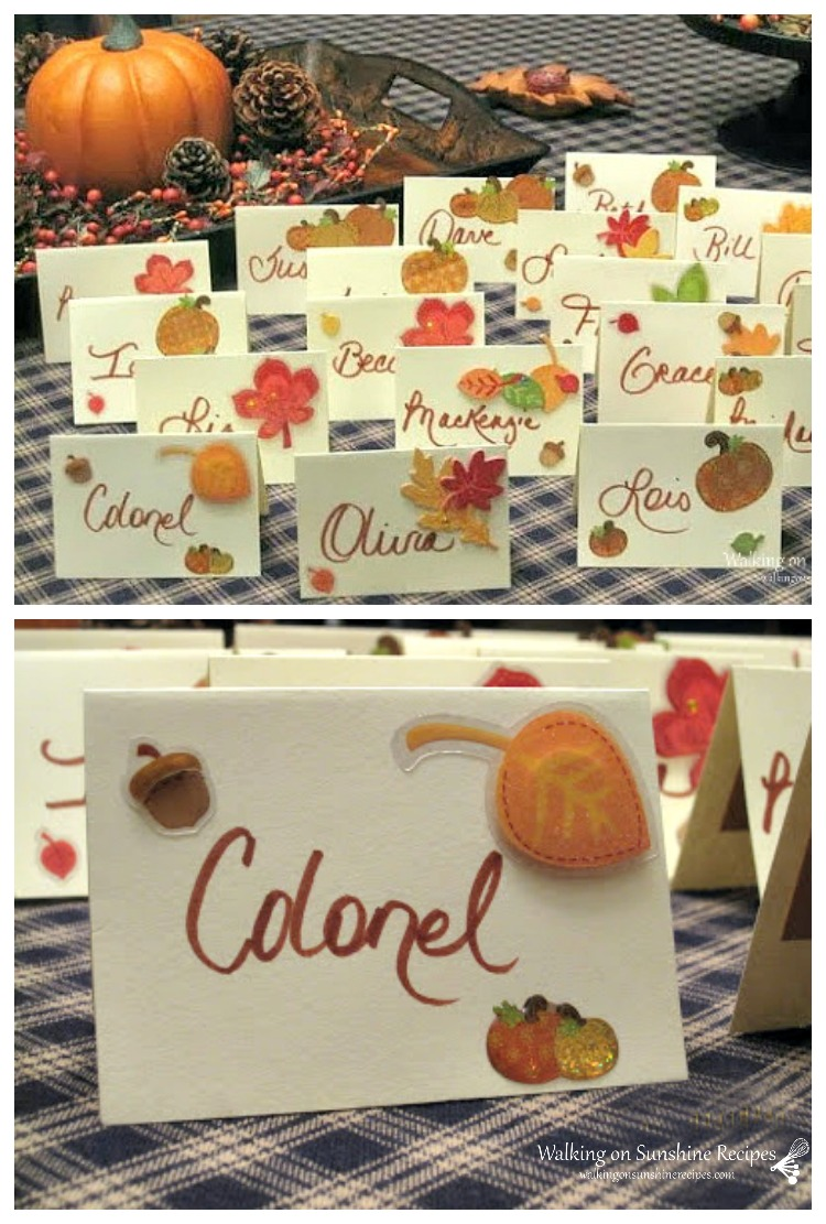 Thanksgiving place cards decorated with stickers and handwriting.