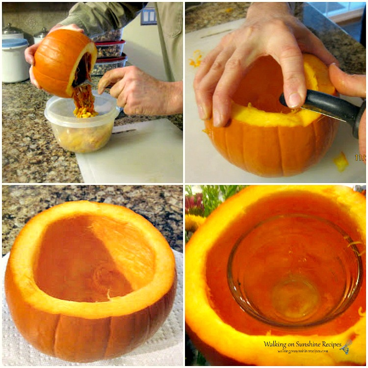 Carving and scooping seeds out of pumpkin to use as a Thanksgiving centerpiece.