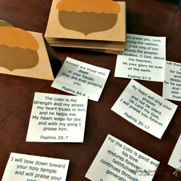Printed scripture verses for Thanksgiving Place Cards.