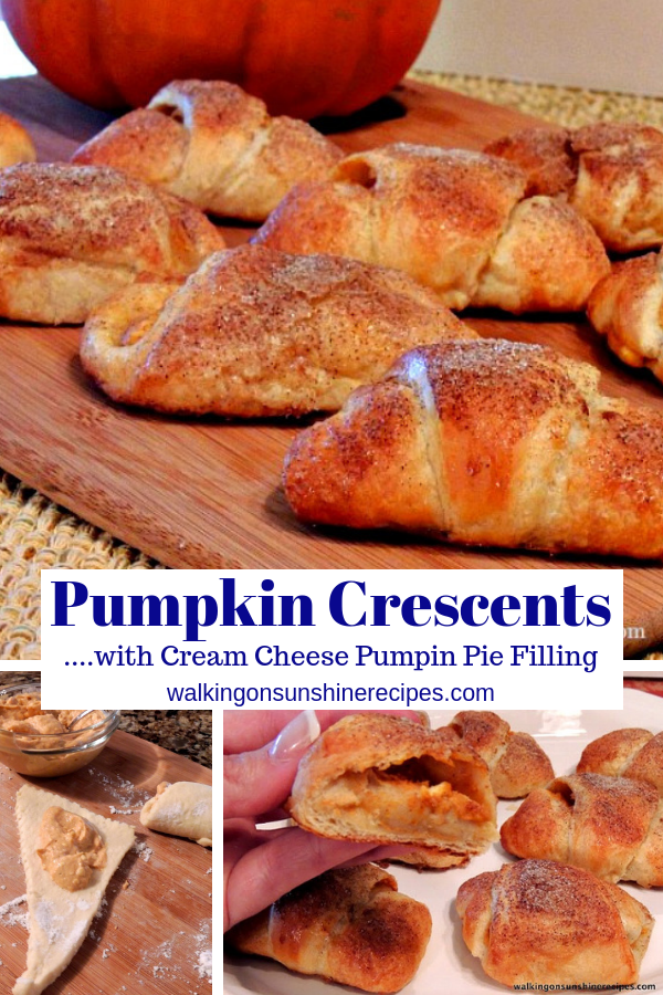 Pumpkin Cream Cheese crescent rolls on cutting board and before rolling up.