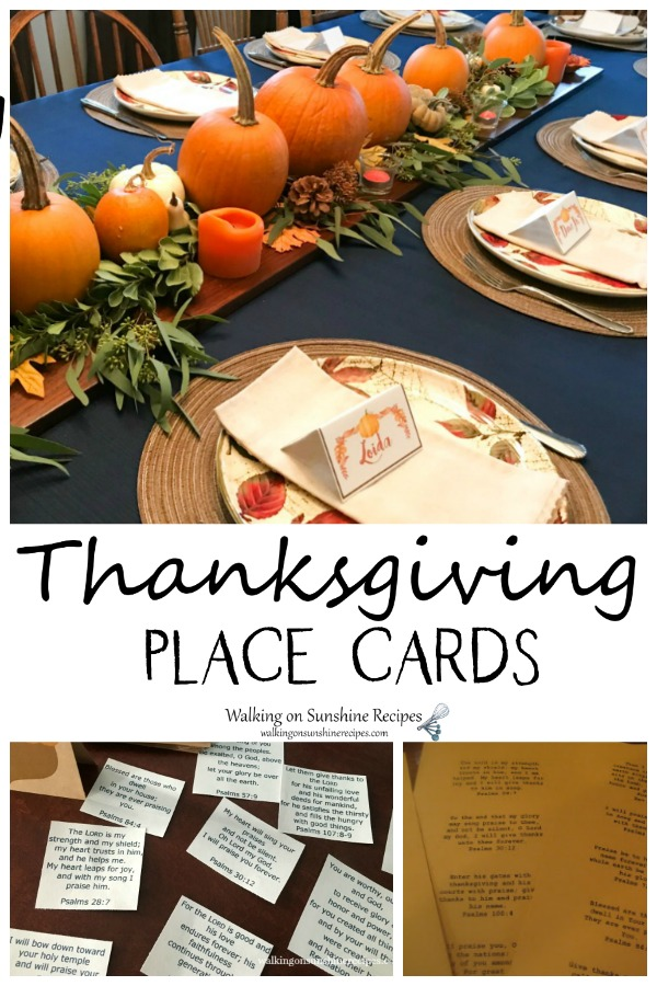 Thanksgiving Place Cards Easy DIY Project from Walking on Sunshine