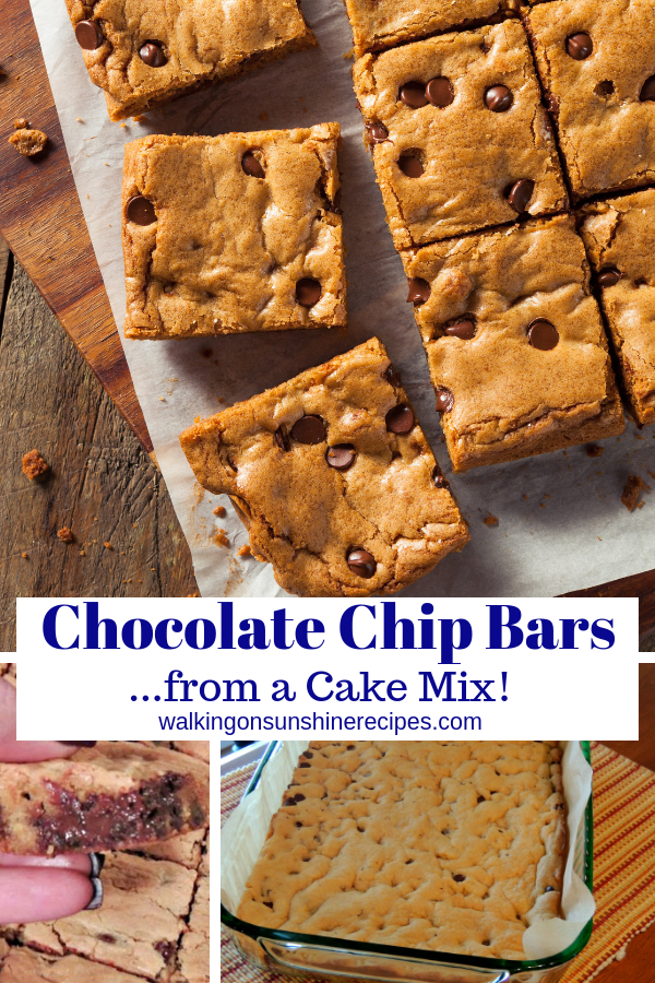 Chocolate chip Bar Cookies from a Cake Mix are so easy to make and are the perfect treat for the kids or for school bake sales.
