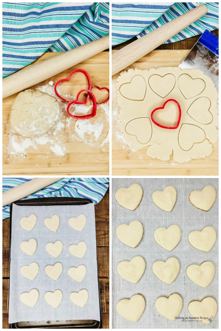 Cutting out Heart Shaped Shortbread Cookies