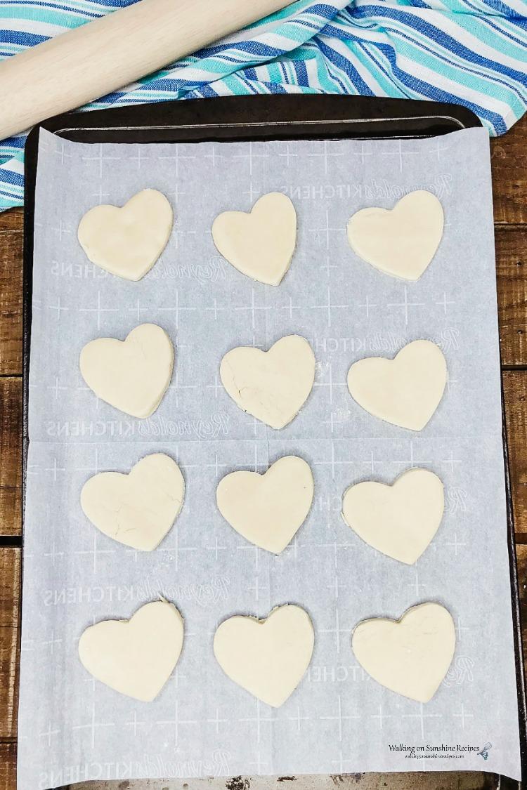 Heart Shaped Shortbread Cookies on Baking Tray