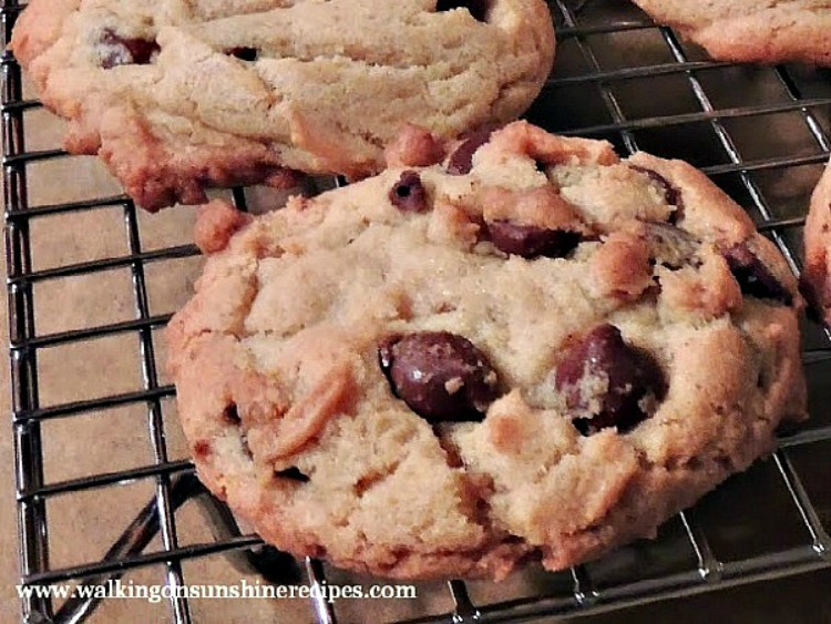 Chocolate Chip Cookies with Pudding Mix on baking rack.