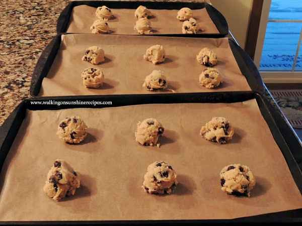 Chocolate Chip Pudding Cookies on baking tray from Walking on Sunshine Recipes.