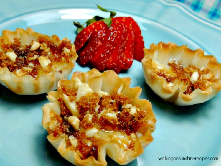 Brie Filled Phyllo Cups Appetizer from Walking on Sunshine Recipes