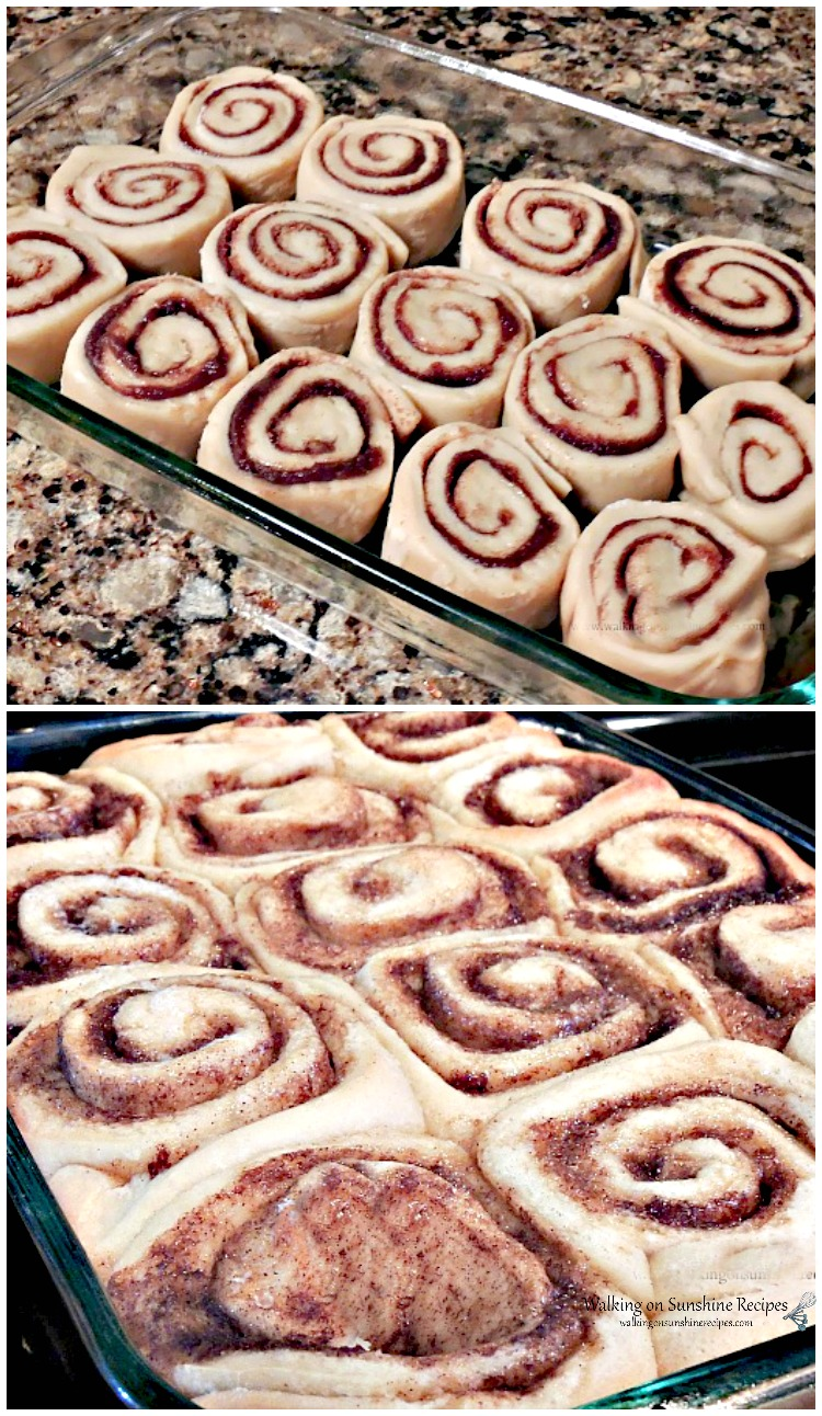 Overnight Cinnamon Rolls before and after baking