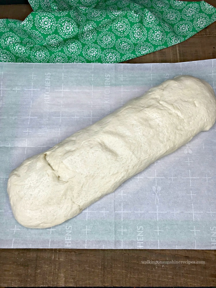 Pretzel Dough Risen and Formed into a Log Shape