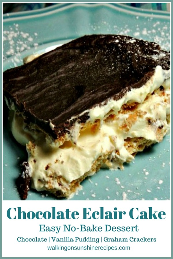 Chocolate Eclair Pudding Cake Easy No Bake Dessert on blue plate.
