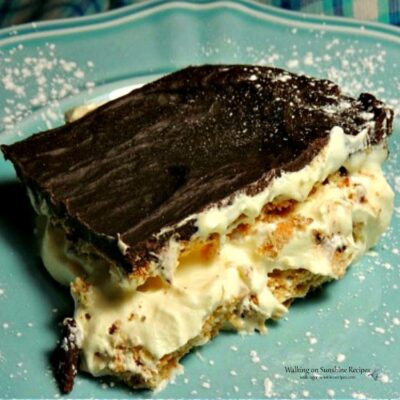 chocolate eclair pudding pie on blue plate