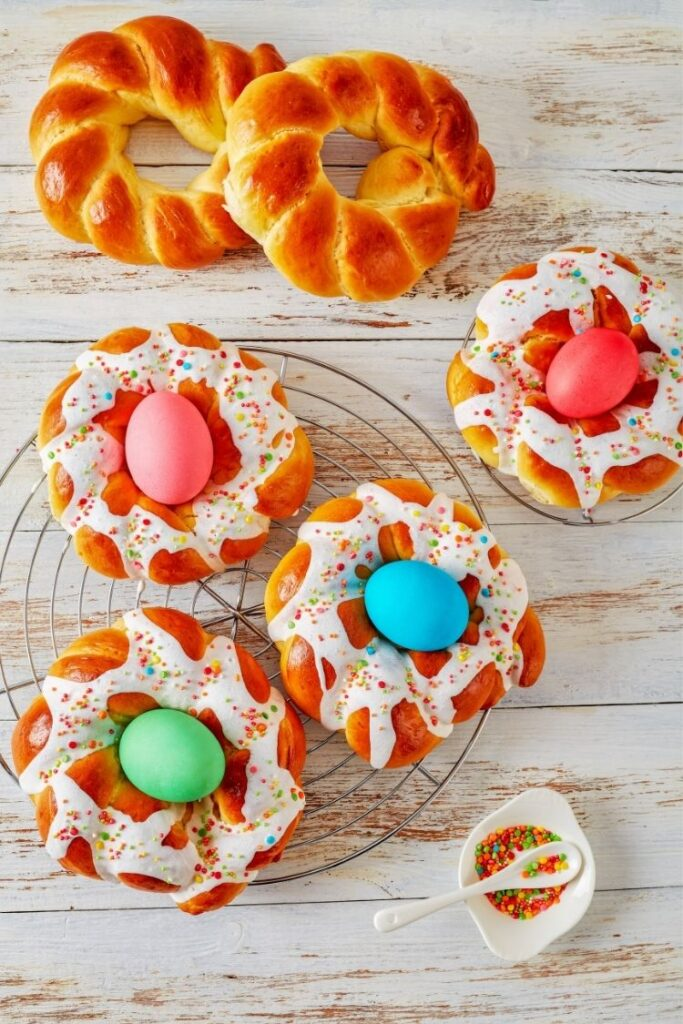 Easter Italian Bread Rings with colored eggs.