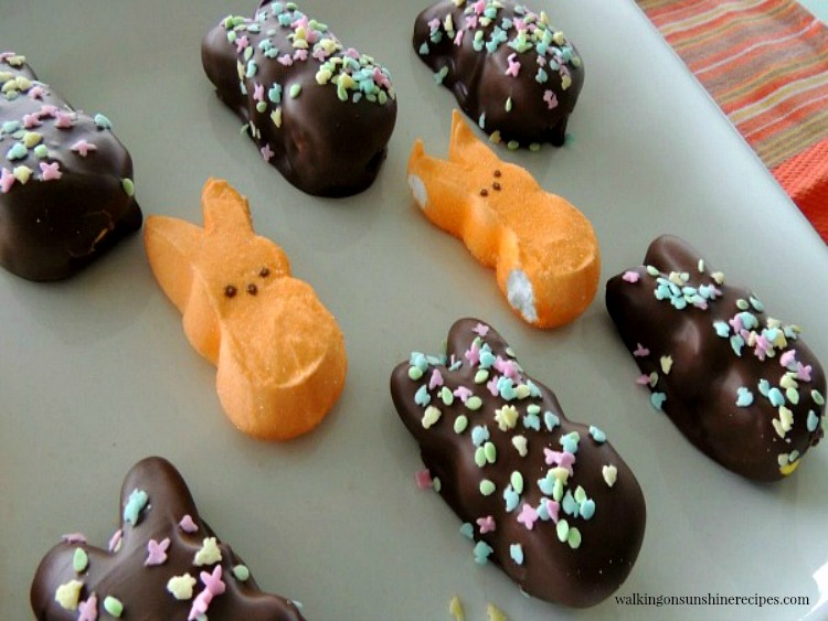 Chocolate Covered Marshmallow Peeps and Bunnies on white platter