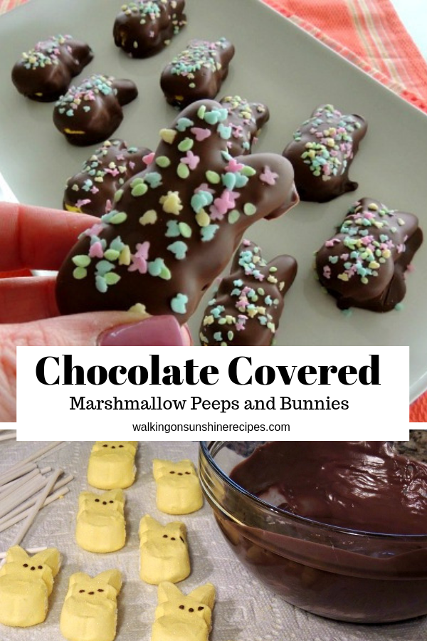 Chocolate Covered Peeps on white platter with melted chocolate in bowl.