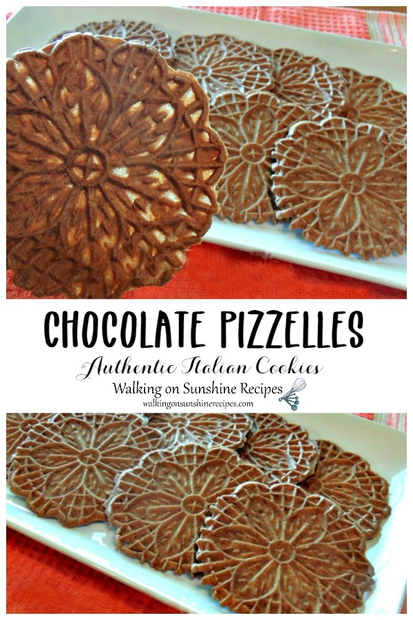 Chocolate pizzelles closeup and on white tray.