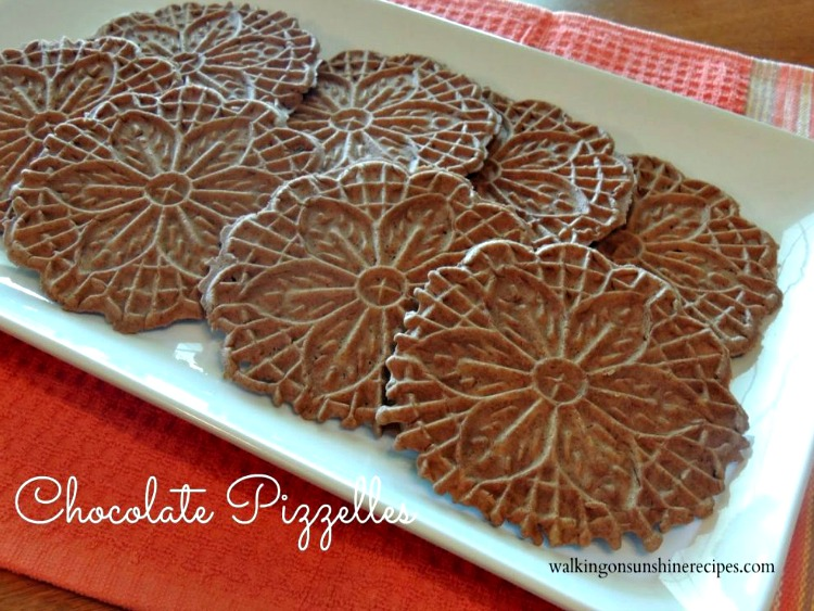 Plate of chocolate pizzelles.