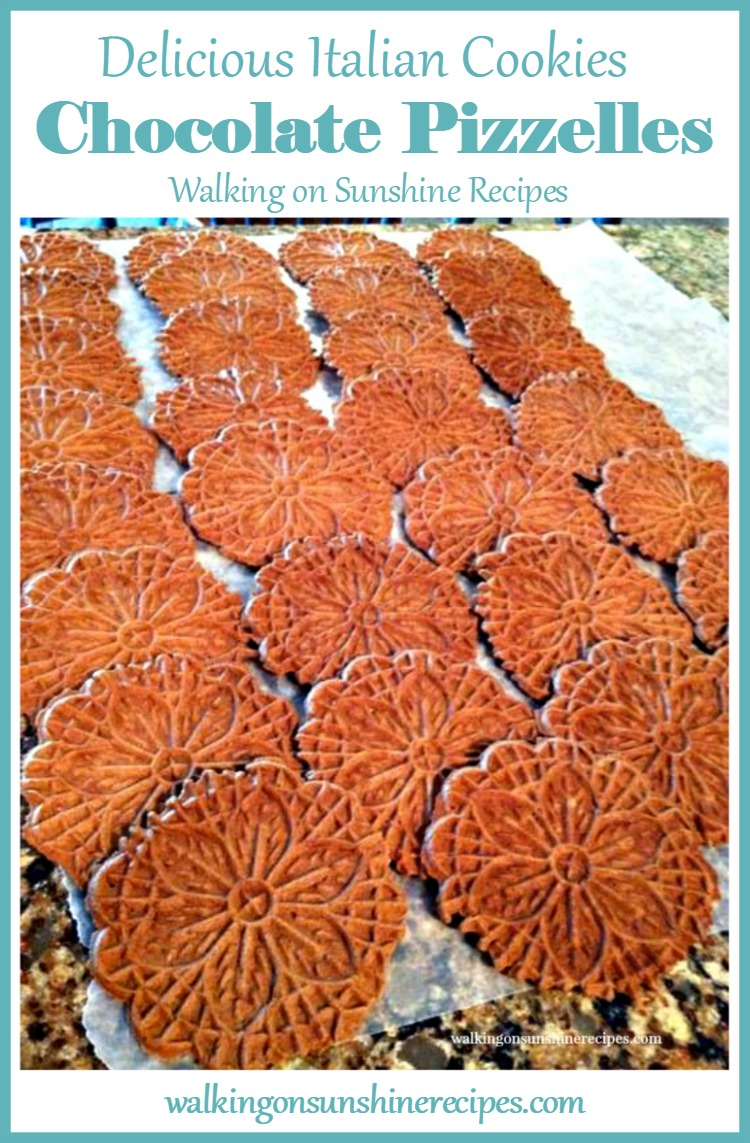 Homemade Chocolate Pizzelles from Walking on Sunshine Recipes.