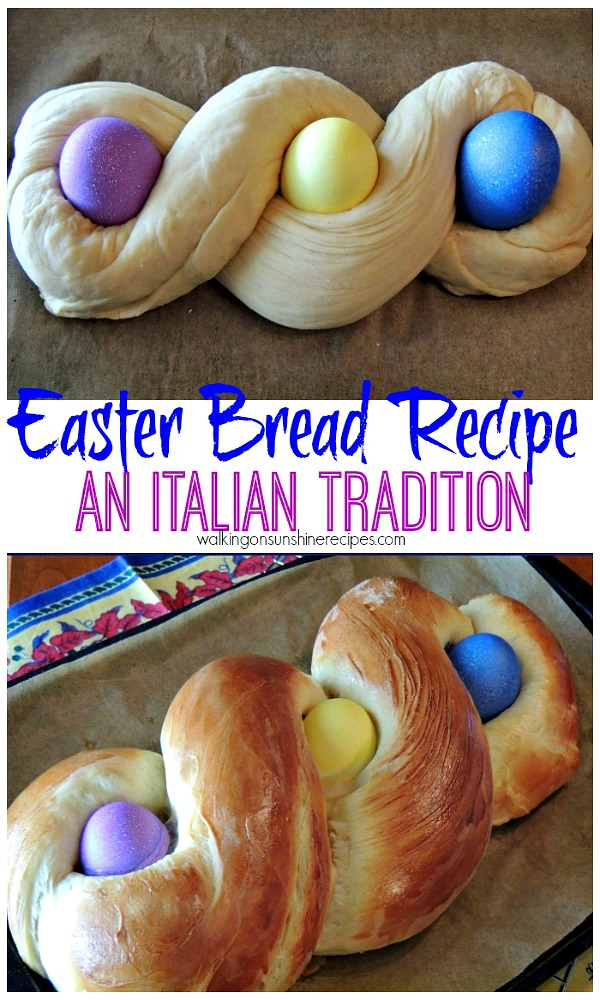 Italian Easter Bread before and after baking.