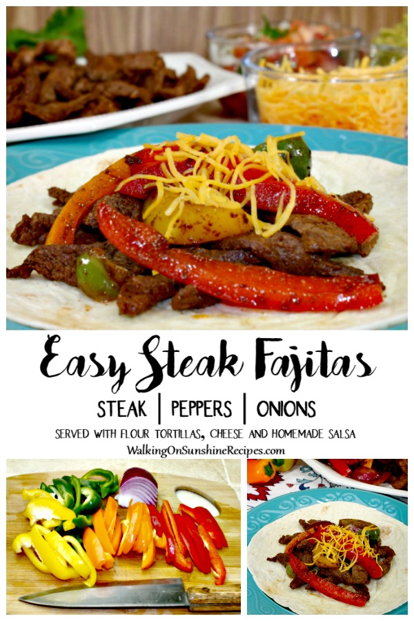 Steak fajitas served with peppers, onions, flour tortillas.