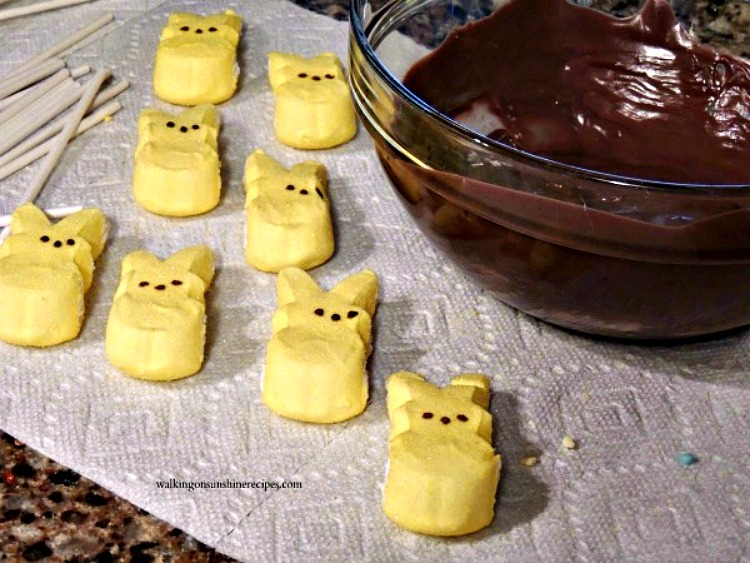 Yellow Marshmallow Bunny Peeps and bowl of chocolate