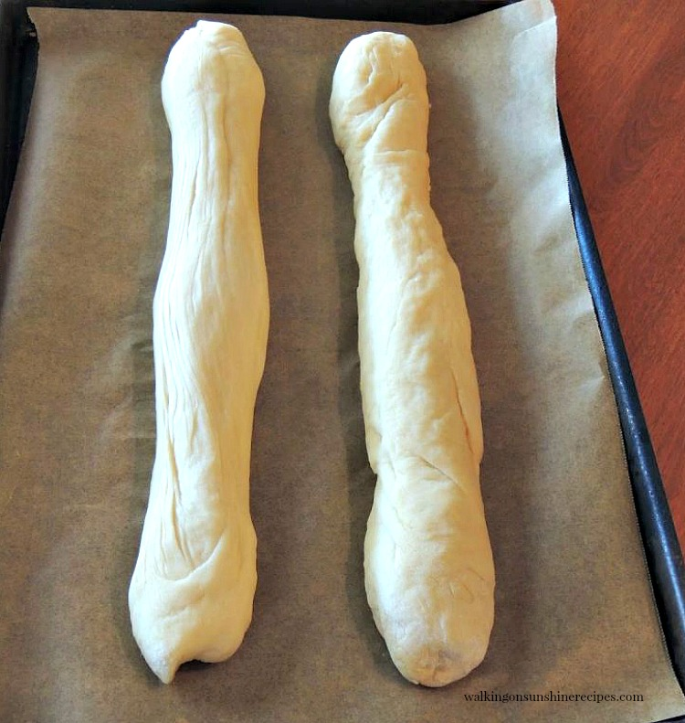 Two long ropes of bread dough for Easter Bread