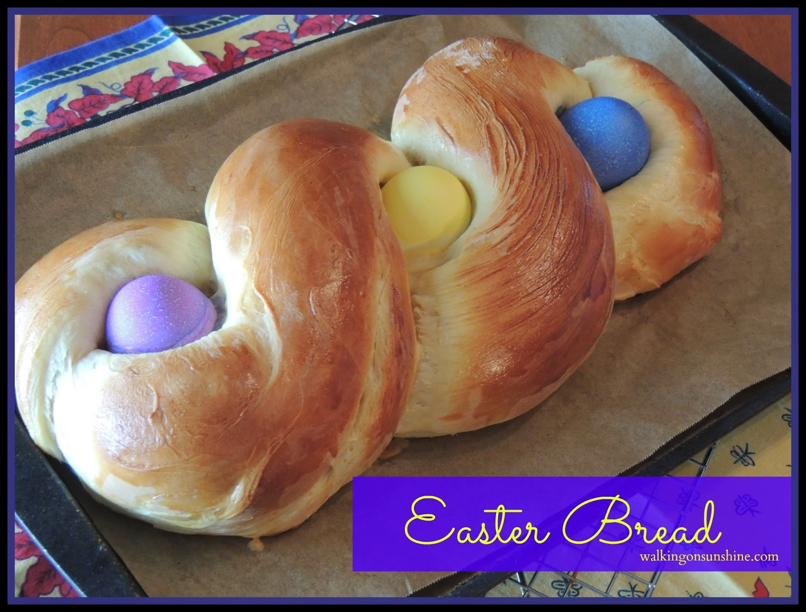 Easter Bread with Colorful Eggs is a Family Tradition.