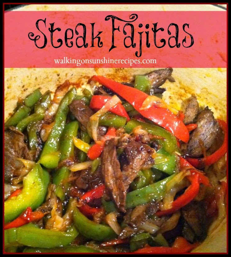 Steak Fajitas with red and green peppers and onions from Walking on Sunshine Recipes.