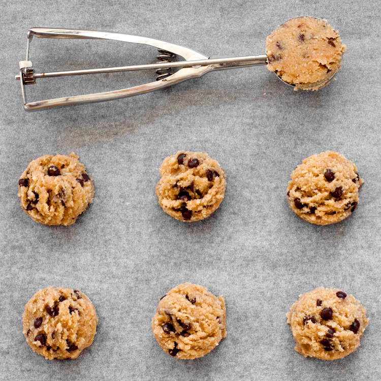 cookie scoop with chocolate chip cookie dough.