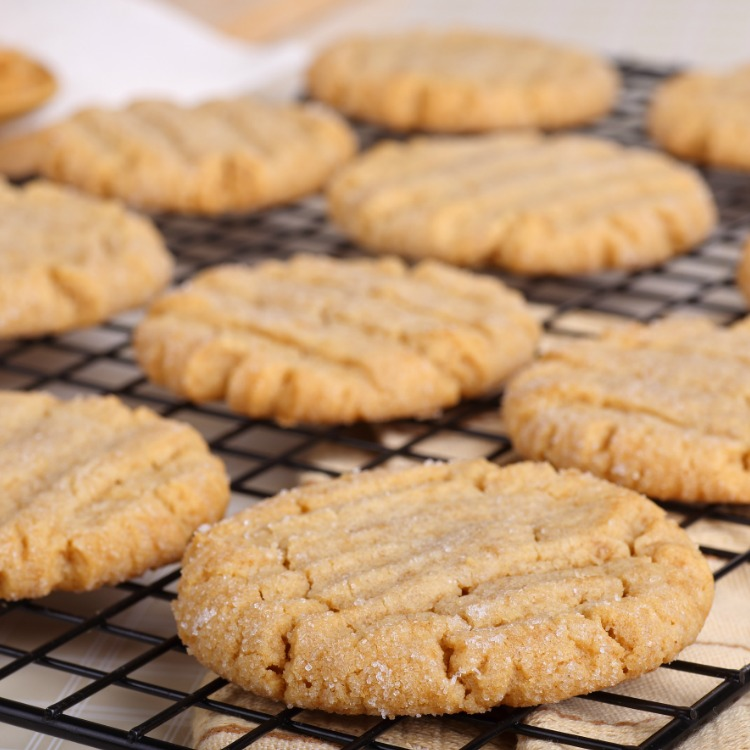 peanut butter cookies made with cake mix on cooling rack.